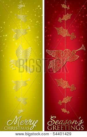 Formal Christmas Filigree Banners In Vector Format.