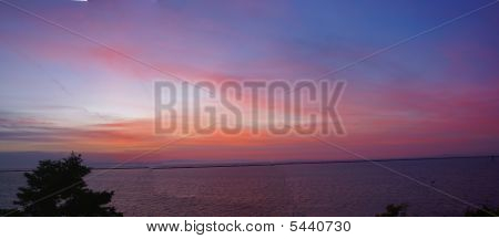 Panorama Sunset on San Juan de Fuca Strait Sequim WA Peninsula poster