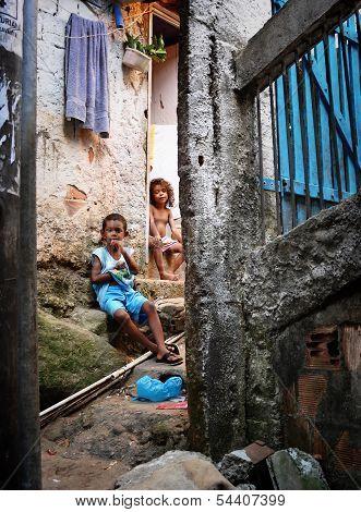 Unidentified Children In Favela Rocinha. Rio De Janeiro. Brazil.