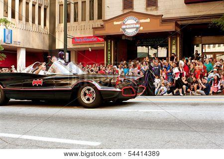 Batman Rides In Batmobile In Atlanta Dragon Con Parade