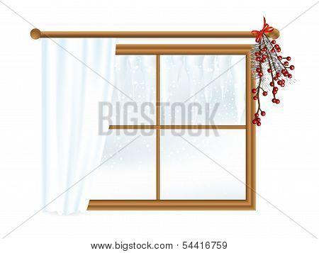 Winter Landscape In Window