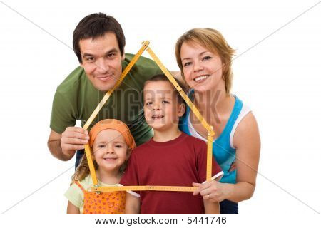 Happy Family With Their Kids - Real Estate Concept