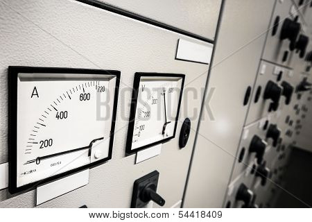 A Electric Voltage And Amperage  Control, black and white poster