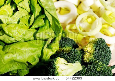 Close up on green vegetables+ lettuce,broccolli,leek.