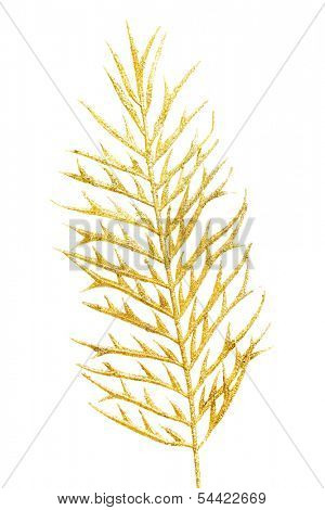 Picture of a gold separate twig. isolated on white.