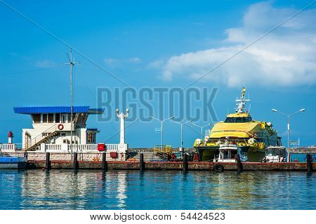 Boat Incommercial Sea Port Of Sochi