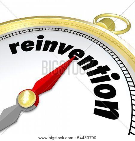 Reinvention Word Gold Compass Renew Refresh