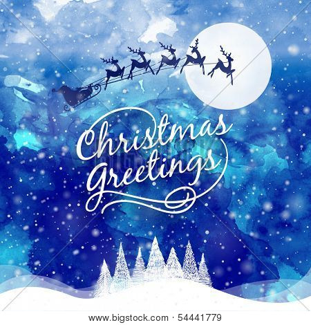 Christmas Greeting Card. Merry Christmas lettering. Water color effect illustration