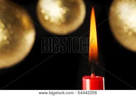 Red Candle And Baubles