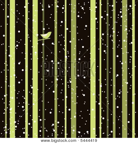 Lonely bird in the forest. Vector illustration. poster