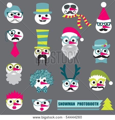 Photobooth Snowman Party set - Glasses, hats, lips, mustache, masks - in vector
