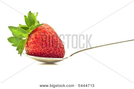 Ripe Strawberry On A Spoon