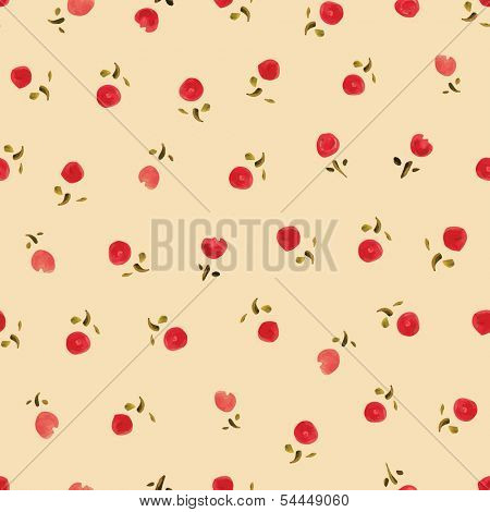 Small roses- watercolor. Seamless pattern