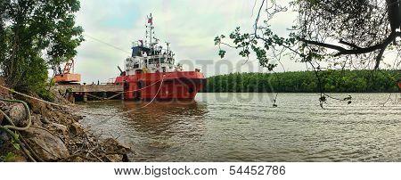boat berthing at shipyard