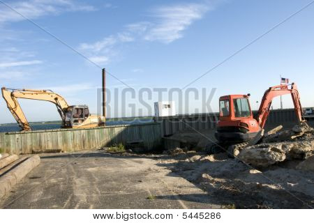 Two idle excavators