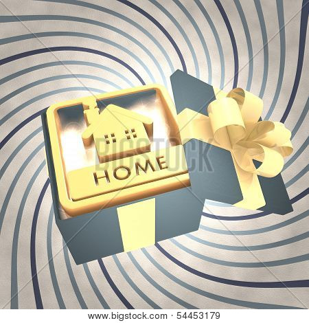 Vintage Christmas Gift Box With Home Symbol