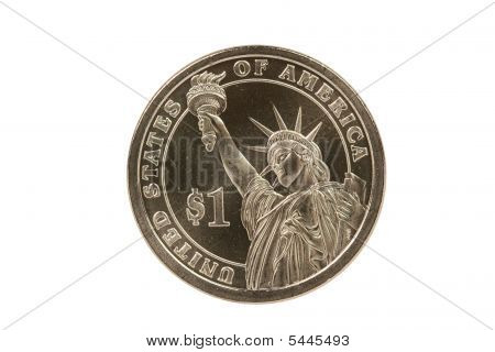 Statue Of Liberty Reverse Of Presidential Coin With Clipping Path