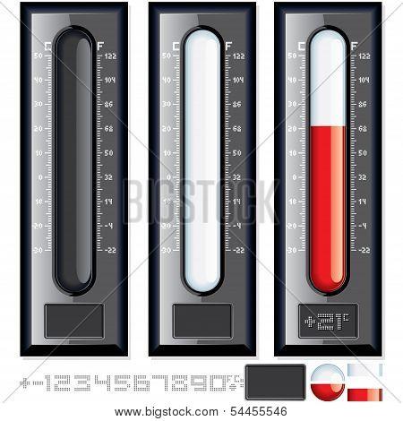 Thermometer Vector Kit. Customizable Illustration