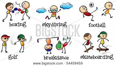 Illustration of the activities that can be done indoor and outdoor on a white background