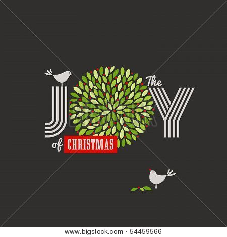 Christmas background with cute birds and the joy of Christmas slogan poster