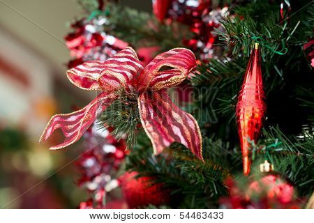 ribbon and decorations on Christmas tree