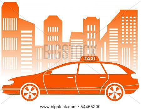 taxi with urban landscape icon