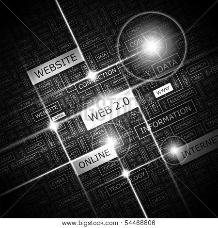 WEB 2.0. Word cloud illustration. Tag cloud concept collage. Vector illustration.