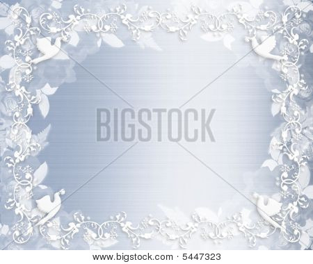 Wedding Invitation Floral Border Blue Satin