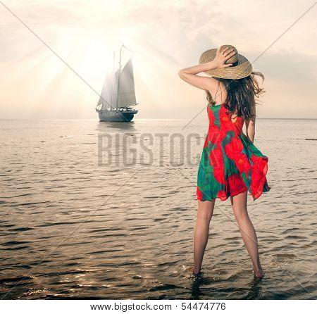Girl In A Poppy Dress, Escorts Fregat Towards The Sunset