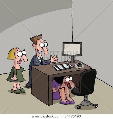 Shy new female office worker