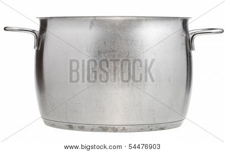 Side View Of Open Big Stainless Steel Pan
