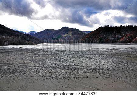 Contaminated lake near an open cast copper mine. Geamana, Romania