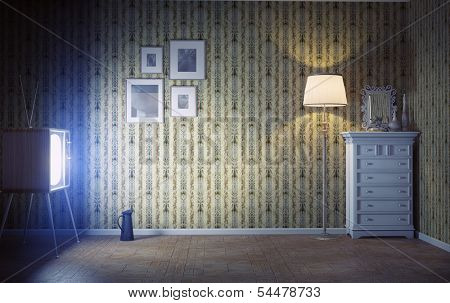 vintage interior  and  retro tv in the dark room