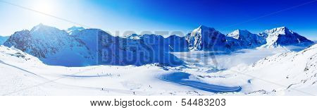Winter mountains, panorama - snow-capped peaks of the Italian Alps