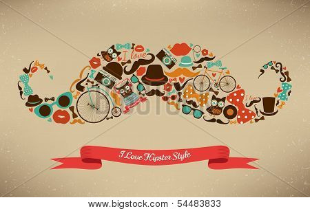 I Love Hipster Style Icon Set in Moustache Shape