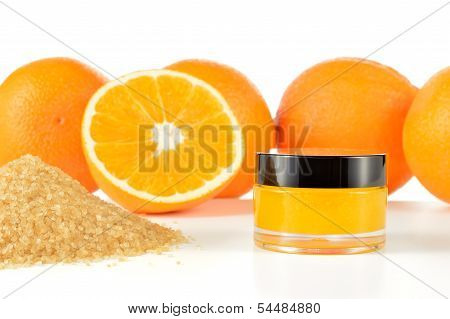 Natural Orange Sugar Lip Scrub On White.