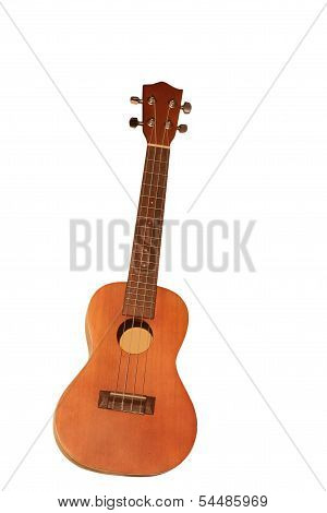 Ukulele on white background.