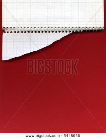 Open Spiral Notebook And Torn Paper