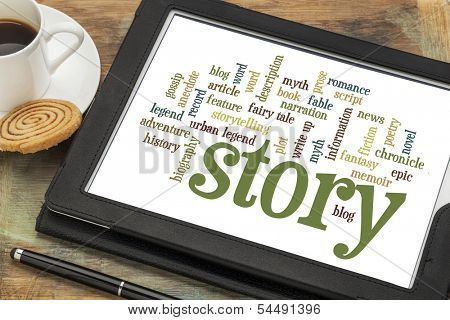 cloud of words or tags related to story, myth and legend on a  digital tablet