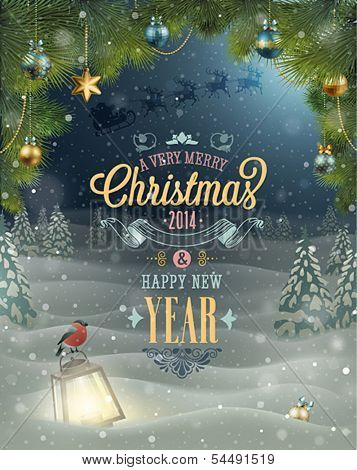 Christmas Poster. Vector illustration.