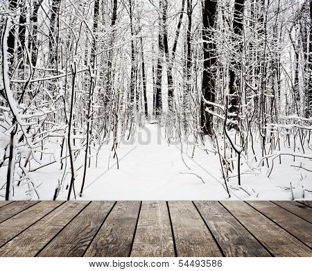 Christmas snow on the wood textured backgrounds. forest winter backgrounds