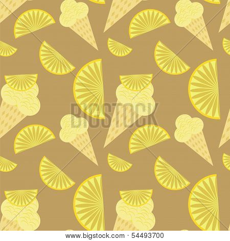 seamless background with ice creams and lemons