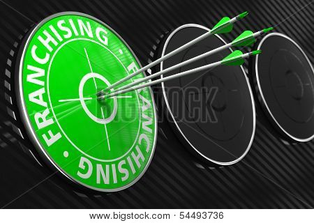 Franchising Concept on Green Target.