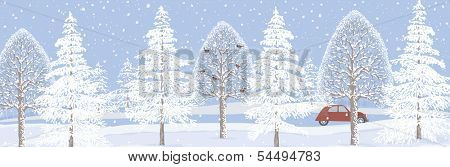Winter landscape background with snowy trees