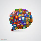 Speech bubble with many application icons. Vector illustration poster