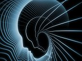 Geometry of Soul series. Background design of profile lines of human head on the subject of education science technology and graphic design poster