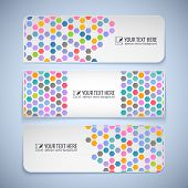 Colorful banners with hexagons and place for your message poster