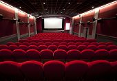 cinema or theater with a empty seats poster