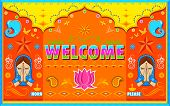illustration of Welcome Background in Indian Truck paint style poster