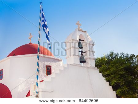 A White Church With Red Roof At Greek Town Of Mykonos